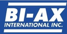BIAX LOGO blue background white letters and white bars