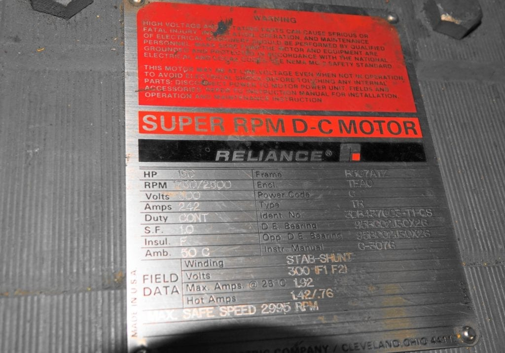 150 hp DC Reliance Motor