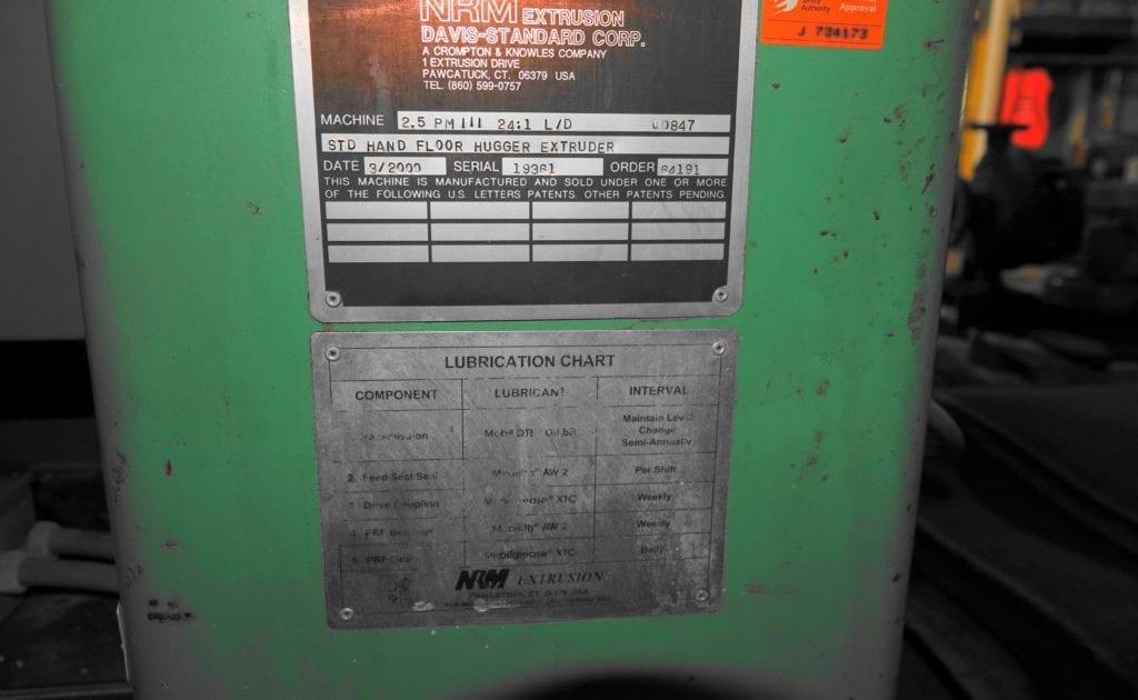 """NRM Extruder 2.5"""", 24:1 Berringer Screen Changer $7000 each USD"""